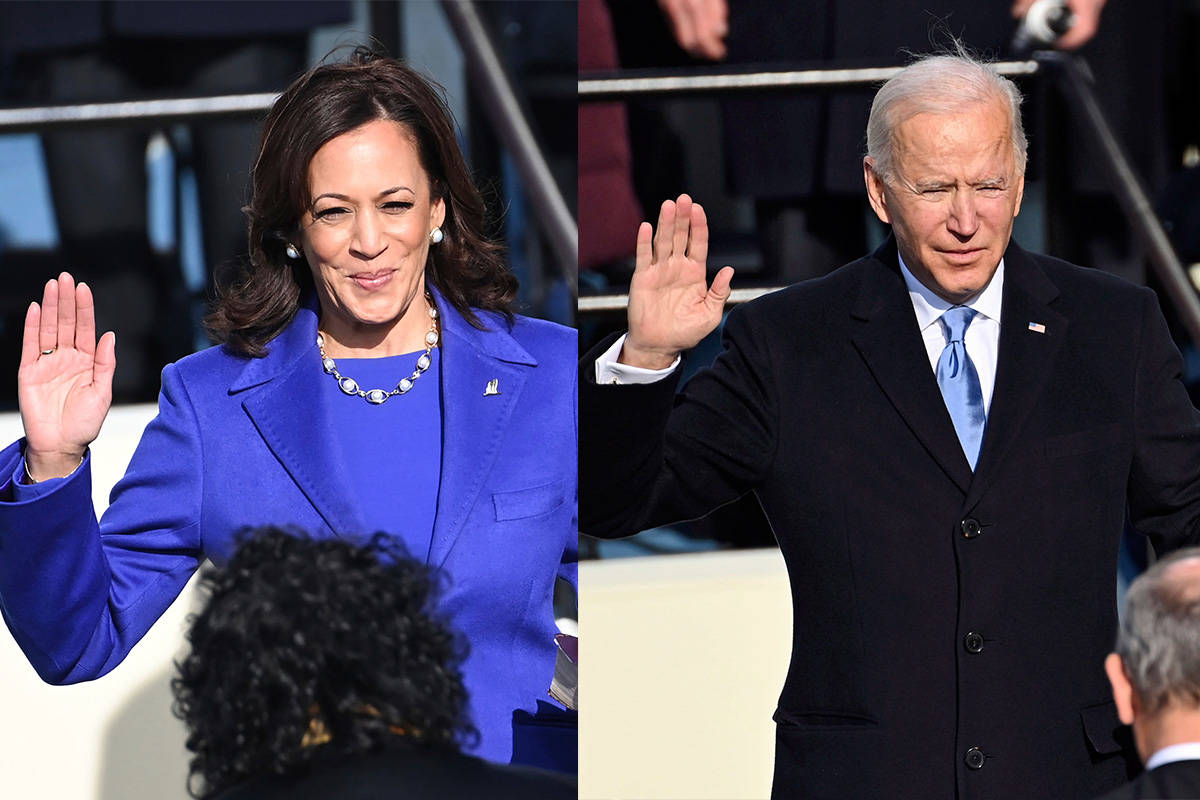 Kamala Harris and Joe Biden are sworn into office on Wednesday, Jan. 20, 2021, at the U.S. Capitol in Washington, D.C. (Saul Loeb/Pool Photo via AP)